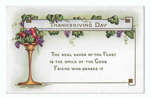 Whitney Made 1910s Thanksgiving Postcard Grapes Leaves Unposted Worcester MA