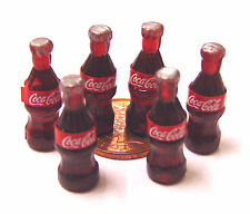 1:12 Scale 6 Small Coke Bottles Tumdee Dolls House Pub Bar Cafe Shop Cola Drink