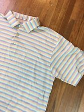Peter Millar Mens Polo Golf Shirt Sz XL Slim Striped Stretch