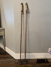 "Vintage Wooden Bamboo  SKI POLES 50"" long, cabin decor"