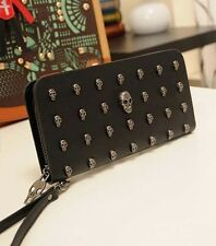 New Lady's Skull Knuckle PU leather Clutch Punk Evening zipper Party bag wallet