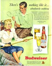 1949 Budweiser Beer Fishing with Cane Pole  PRINT AD