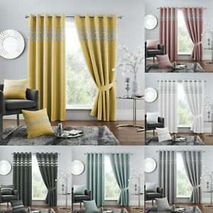 Diamante Thermal Blackout Pair Curtain Eyelet Ring Top Thermal Sparkle Curtains