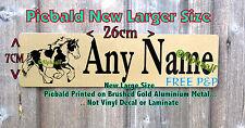Stable Door Sign PIEBALD COB Personalised LARGE Brushed Gold Aluminium Metal