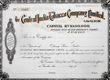 THE CENTRAL INDIA TOBACCO COMPANY LIMITED, GWALIOR SHARE CERTIFICATE M105