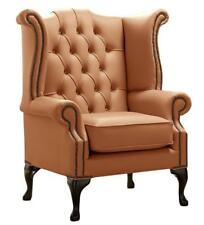 Chesterfield Armchair Queen Anne High Back Wing Chair Saddle Tan Brown Leather