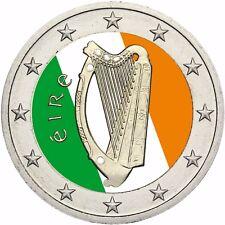 Irland 2 Euro Münze Keltische Harfe Stempelglanz Kursmünze in Farbe
