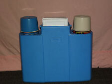 VINTAGE PICNIC COOLER KING SEELEY TWIN  RED BLUE THERMOS SET