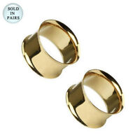 Ear Plugs Tunnels Pair of Gold IP 316L Surgical Steel Double Flared
