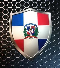 "Dominican Republic Shield Flag Proud Domed Decal Emblem Car Sticker 3D 2.3""x 3"""