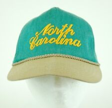 Vintage North Carolina Embroidered Snapback Cap Hat Teal and Yellow Rope Braid