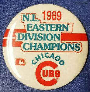 """Vintage Chicago Cubs 1989 N.L. Eastern Division Champions 3"""" Button Rare Find"""