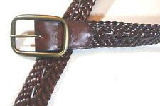 "DOCKERS 36 BROWN Braided VEGAN Faux  Leather 1.25""  BELT  Brass Buckle"