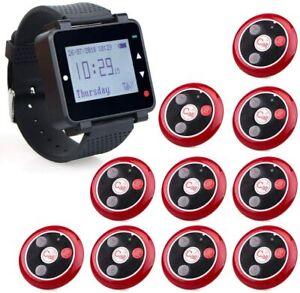 Wireless T128 Restaurant Calling System 1*Uhrempfänger mit 10*Pager anrufen DE