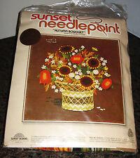 "Sunset Needlepoint ""Autumn Bouquet"" Designed by Barbara Jennings Vintage New '78"