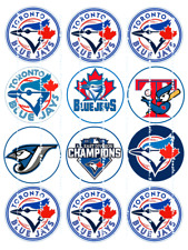 BLUE JAYS LOGOS : Edible  Cupcake Toppers  FREE SHIPPING in Canada