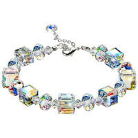 "Aurora Borealis Bracelet with Crystals 18K White Gold Jewelry Adjustable 7""-9"""