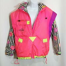Vintage Obermeyer Sport Jacket Sz 6 Pullover Neon Pink Black White Stripe Floral