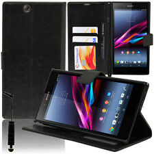 CASE COVER LEATHER WALET HOLDER VIDEO BLACK STY SONY XPERIA Z ULTRA