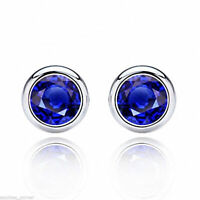 2 ct. Beautiful Blue Sapphire Stud Earrings ~ Bezel set ~ Solid Sterling Silver