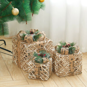 3X LED Gift Boxes Pinecone Light up Christmas Presents Parcel Party Festive Deco