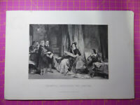 Antique 1880 Victorian Engraving CROMWELL CONSULTING LAWYERS English Civil War