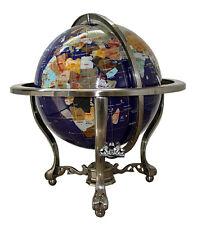 "Unique Art 21"" Tall Blue Lapis Ocean Table Top Gemstone World Globe Silver Tripo"