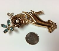 Huse Vintage Pegasus Coro Hand Holding Flower and Rhinestone Leaves Brooch Pin