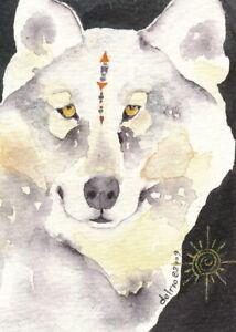 """PRINT 5"""" X 7"""" watercolor Del Rio spirit totem animal GRAY WOLF 'Il Lupo Sun'"""