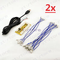 2x Zero delay arcade Joystick Control board USB to PC For 2Pin + 4.8mm Buttons