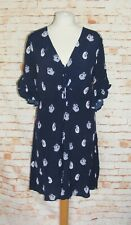 Warehouse party dress size 16 flare sleeve tie v-neck fit flare navy swan print