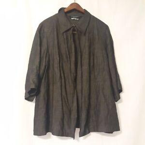 marina rinaldi linen blend open blouse