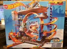 Hot Wheels Ultimate Mega Garage Tower Shark Loop Racetrack, 2 Vehicles Set NEW