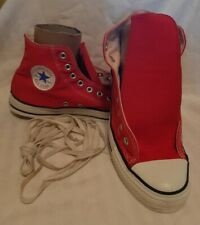 Vintage Red 80's 90's Canvas Converse Hi-Top Athletic Tennis Shoes Size 10 Usa