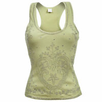 Sebix Yellow Green Floral Heart Cotton Summer Holiday Shiny Vest Sleeveless Top