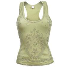 Sebix Yellow Green Floral Heart Cotton Summer Holiday Shiny Vest Sleeveless Top