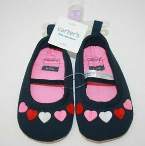 Carter's Baby Blue Hearts Love Crib Shoes 6-9 Months New NWT St Valentines Day
