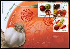 2012 Garlic,Grapes,Tomato,Hot Peppers,Apples,FOOD,Live Healthy,Romania-6621-FDC