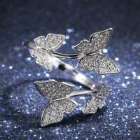 Butterfly White Sapphire Ring Women Creative Gifts CZ Wedding Jewelry Gift