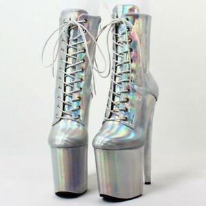 Sexy High Heels Platform Mid Calf Boots Party Dance Shiny Slim Boots Shoes