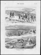1878 - Antique Print GROUSE DRIVING October Moor Horses Beaters Dog   (143)