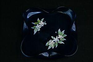 Blue Folded Glass Square Trinket Dish Handpainted Multicolor Floral Design Décor