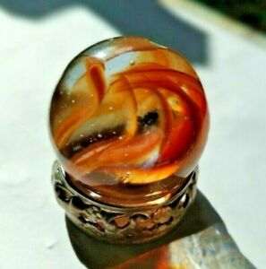 Vntg Transparent Red Amber Striped Ribbon Core Shooter Marble Christensen??
