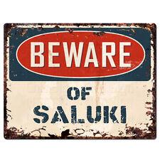 Ppdg0134 Beware of Saluki Plate Rustic Tin Chic Sign Decor Gift