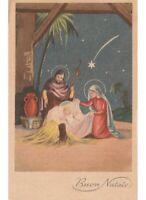 Buon Navidad Tarjeta Postal Religiosa Natividad Jesús Niño Sagrada Familia Comet