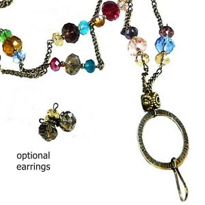 Lanyard Necklace chain, Security id badge holder, keys, Bronze crystal rainbow
