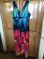 Susan Graver XL NWOT liquid knit sleeveless Maxi Dress Bright multi-color