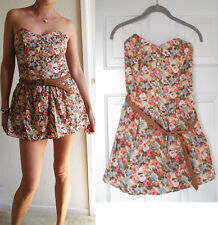 Poetry Floral Romper One Piece Boning Belted Shorts Skort Dress Small Mint M