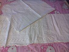 completo letto singolo bianco ricamato in cotone