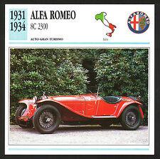 SCHEDA TECNICA AUTO - CAR DATA - ALFA ROMEO 8C 2300 - 1931/1934 - ITALIA